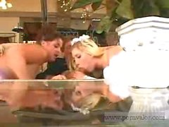 Bride groom and bridesmaid in furious threesome fucking - pornvalor