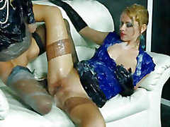 Hottest bukkake lesbians get cumshot