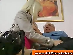 Old man fucks hot blonde in boots