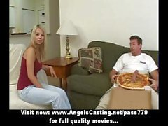 Pizza delivery guy gets lucky and this blonde gives him head