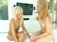 Blondes on white - lesbian scene with Lolla and Alana M