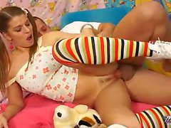 Blue eyed teen in pigtails and socks devours a cock