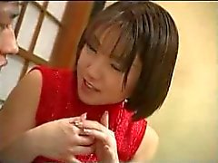 Japanese woman gives a hand job during dinner
