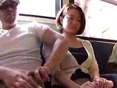 Attractive Japanese babes getting used by horny guys in pub