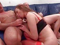 MILF enjoys DP orgy action