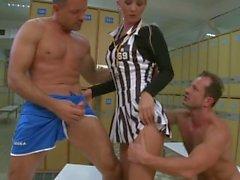 Blonde gets hard sex in locker room