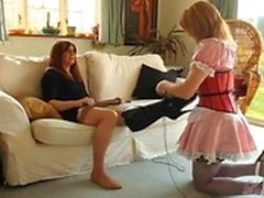 Hot blonde tranny maid worships crossdresser mistress feet and then sucks her big cock