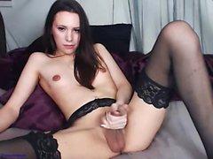 amateur brunette lingerie masturbation