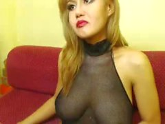 Sexy hot filipina tgirl with amazing soft tits cums and licks it up