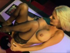 Long haired blonde hammered doggystyle on the desk