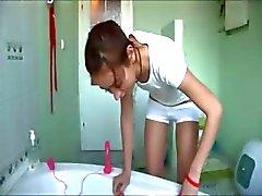 latvian Natasha at water closet