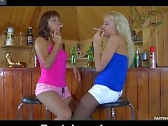 Young lesbians at bar wear stockins while getting off