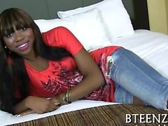 Sexy ebon playgirl never minds being filmed during sex