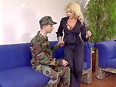 Mature Woman Checks a soldiers skills and his dick