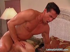 Erotic bedroom party where Latina slut