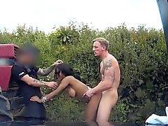 Ebony euro spitroasted by dodgy cop in trio