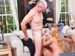 Hot babe Raylin Ann tag teamed by 3 old men