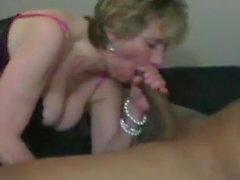 Mature Lady sucks BBC