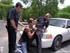 Criminal Perp Gets It Hard By Two Horny Cops Looking to Fuck Hard