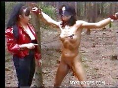 Hard Femdom Porn in woods