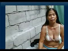 55yr old Filipina Granny gets Naked on Cam