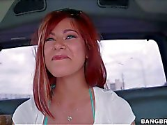 Alessa Snow shows her perfect tits in the backseat