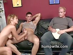 Cuckold wife sucks while husband watches her enjoy another man