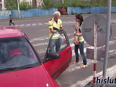 Skinny Nataly has kinky outdoors sex