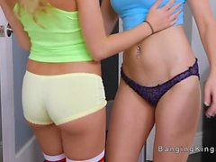 Lesbian roommates dancing and licking