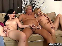 Hot GF rides old man cock hard