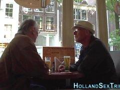 Dutch whore masturbates