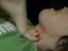 redhead chokes boy - barefoot