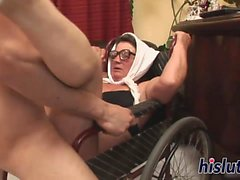 Mature slut rides on a fat rod