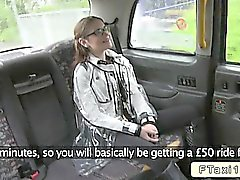 Australian babe fucks in British fake taxi