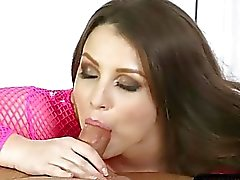 Hot masseuse blowjobs her clients cock under the table