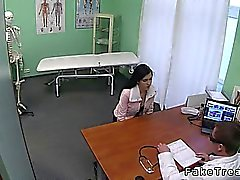 Small tits brunette came to doctor for breasts implants and soon she gets fucked in his office