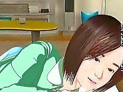 Cute 3D hentai girl have a wet dream