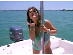 Big boobs on a boat