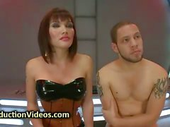 Bound guy face and ass fucked by tranny
