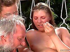 Agata and Hadjara has crazy sex fun with aged man