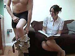Clothed babe strokes weirdos cock