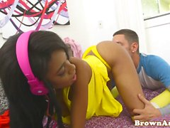 Busty nubian babe doggystyled after blowing