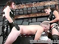 Nasty domme fucks a submissive hairy ass