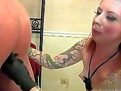 Big tits model ball licking