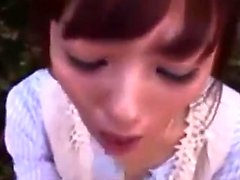Cute Japanese 18 Schoolgirl Facial and Blowjob