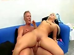 Sweet young blonde fucked and analized by an old man