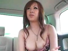 Perky breasted Oriental babe sucks and strokes a hard dick
