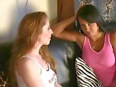Bondage Orgasms! Redhead Lesbian dominates submissive slut w/ strapon cock!