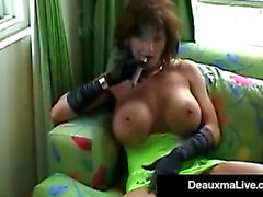 Smokin' sexy cougar deauxma bangs her cum-hole & m enacing a-hole with a cigar