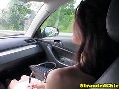 European hitchhiking babe gets cum in her eye